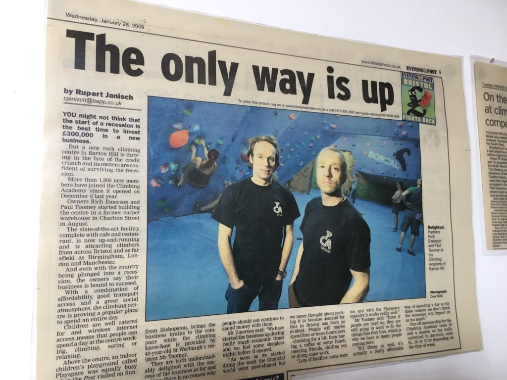 News cutting about The Climbing Academy - centre launch