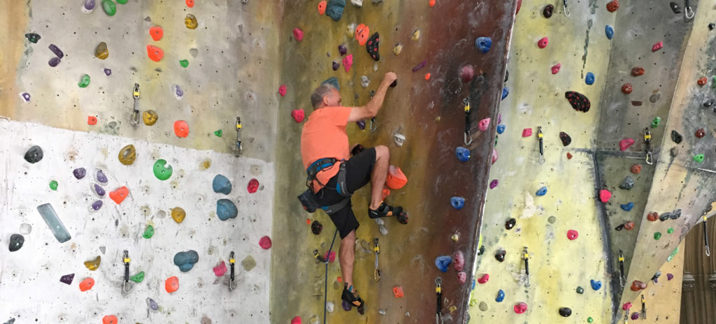 Alan (71 years old) climbing at The Church